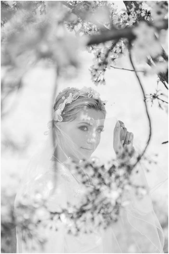 Los Angeles Wedding Bride Cherry Blossoms Photo
