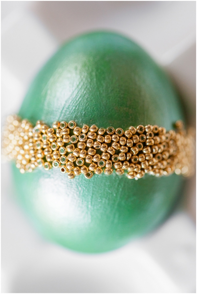 DIY Easter Eggs Green with Gold Beads Photo
