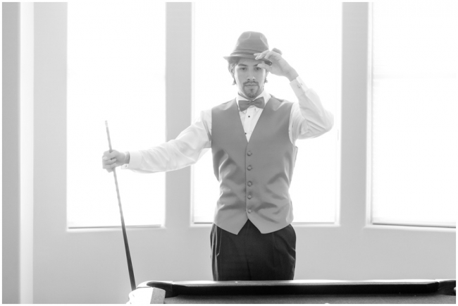 Los Angeles Groom Wedding Portraits Playing Pool Photo